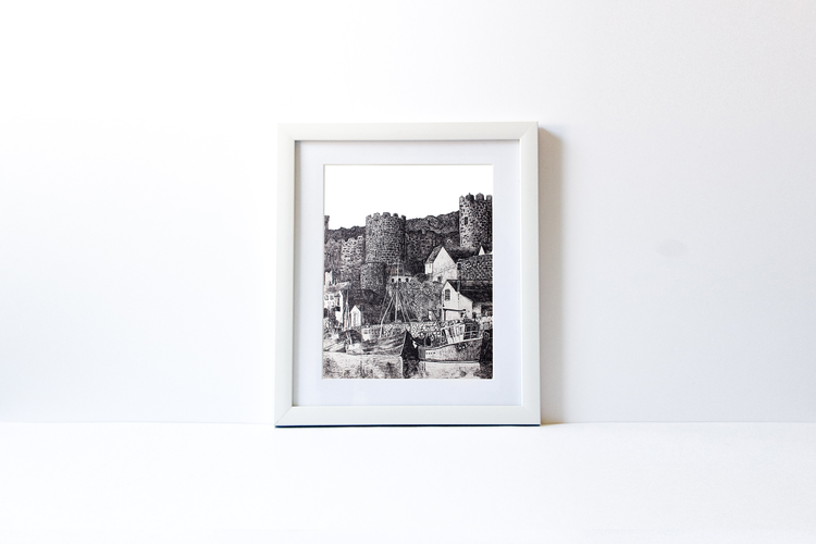 Castle White Wood Frame Charity Canvas