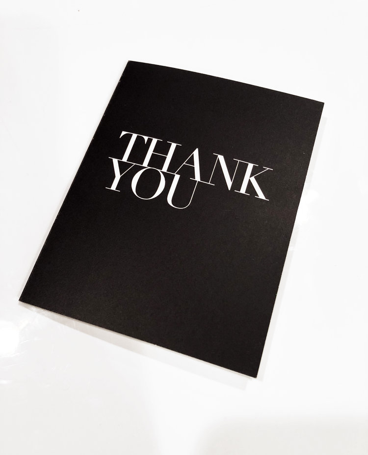 Premium Black Thank You Cards Charity Canvas