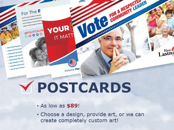 Reach out directly! - Postcards are so very versatile. You can use them as a hand-out at an event or double-purposed as a direct mailer. Get your name seen and your points across!