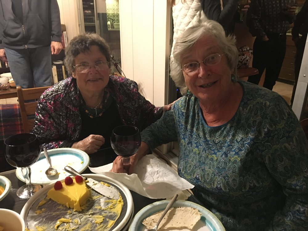 sharon and deb - enjoying dinner with friends