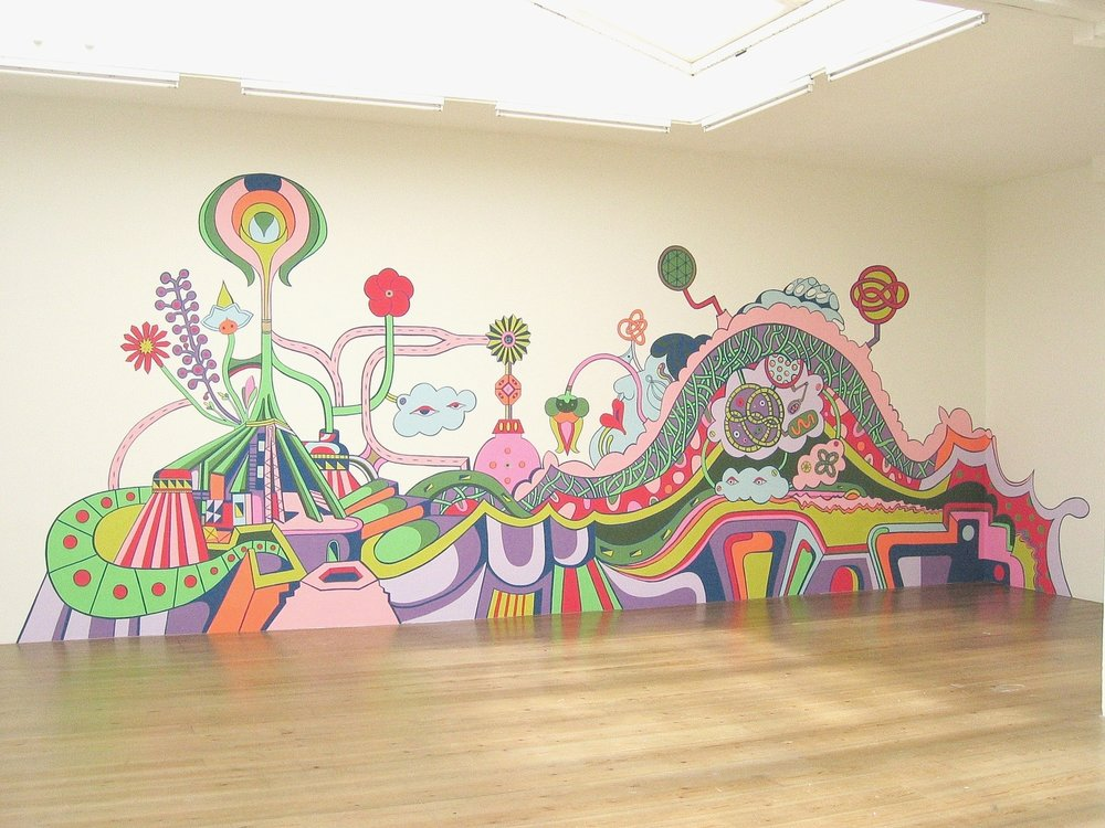 Eyeshot valley of the Micromacro Maiden, 10 x 28 ft. acrylic mixed media mural with collage components, 2004.  Exhibition: Entropic Meltdown/Happy Sadness, Stedelijk Bureau Museum, Holland