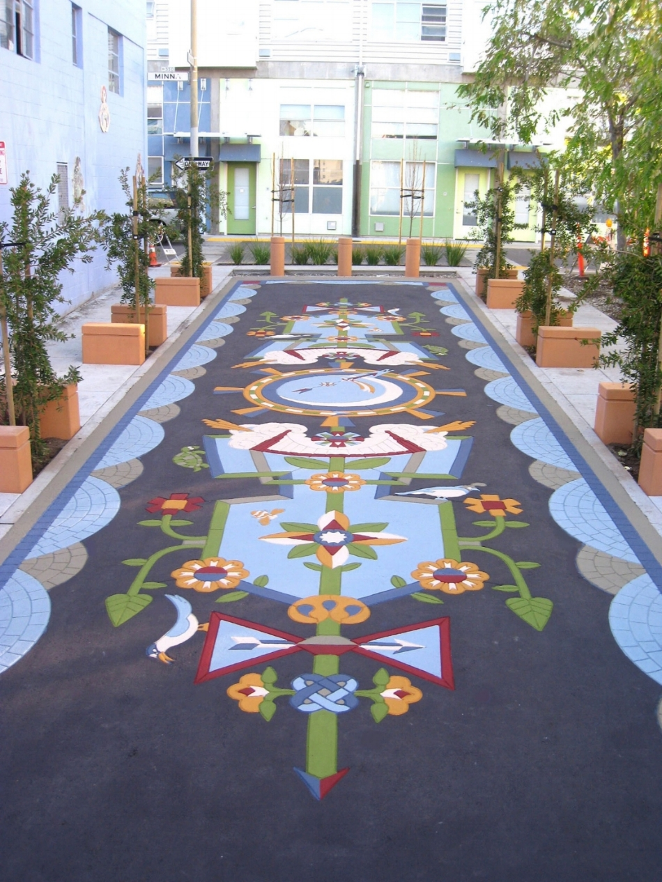 Evolves The Luminous Flora   , 15 x 65 ft. Tutubi Plaza, StreetPrint: Stamped painted asphalt, San Francisco Art Commission, 2011.