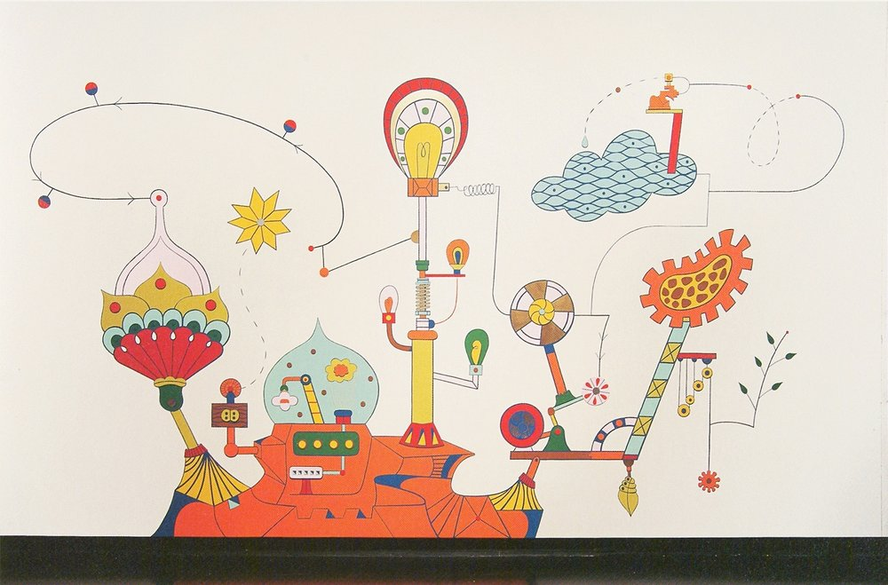 Physical Plant II, 13 x 17 ft. acrylic, mixed media mural with collage components, Tang Museum, Skidmore College, Saratoga Springs, NY, 2002. Exhibition: Chain Reaction: Rube Goldberg and Contemporary Art