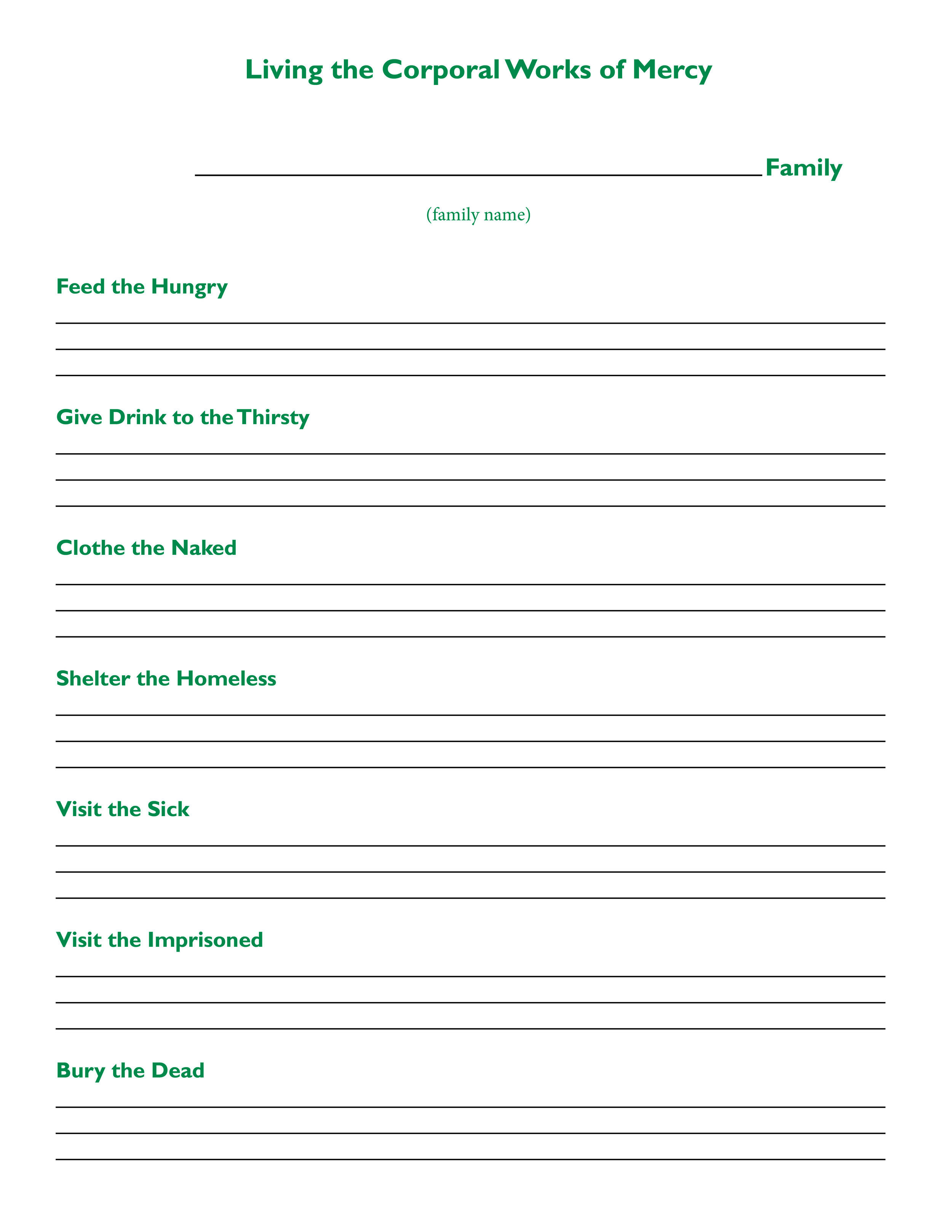 The Little Things St Joseph Catholic Family center – Corporal and Spiritual Works of Mercy Worksheet