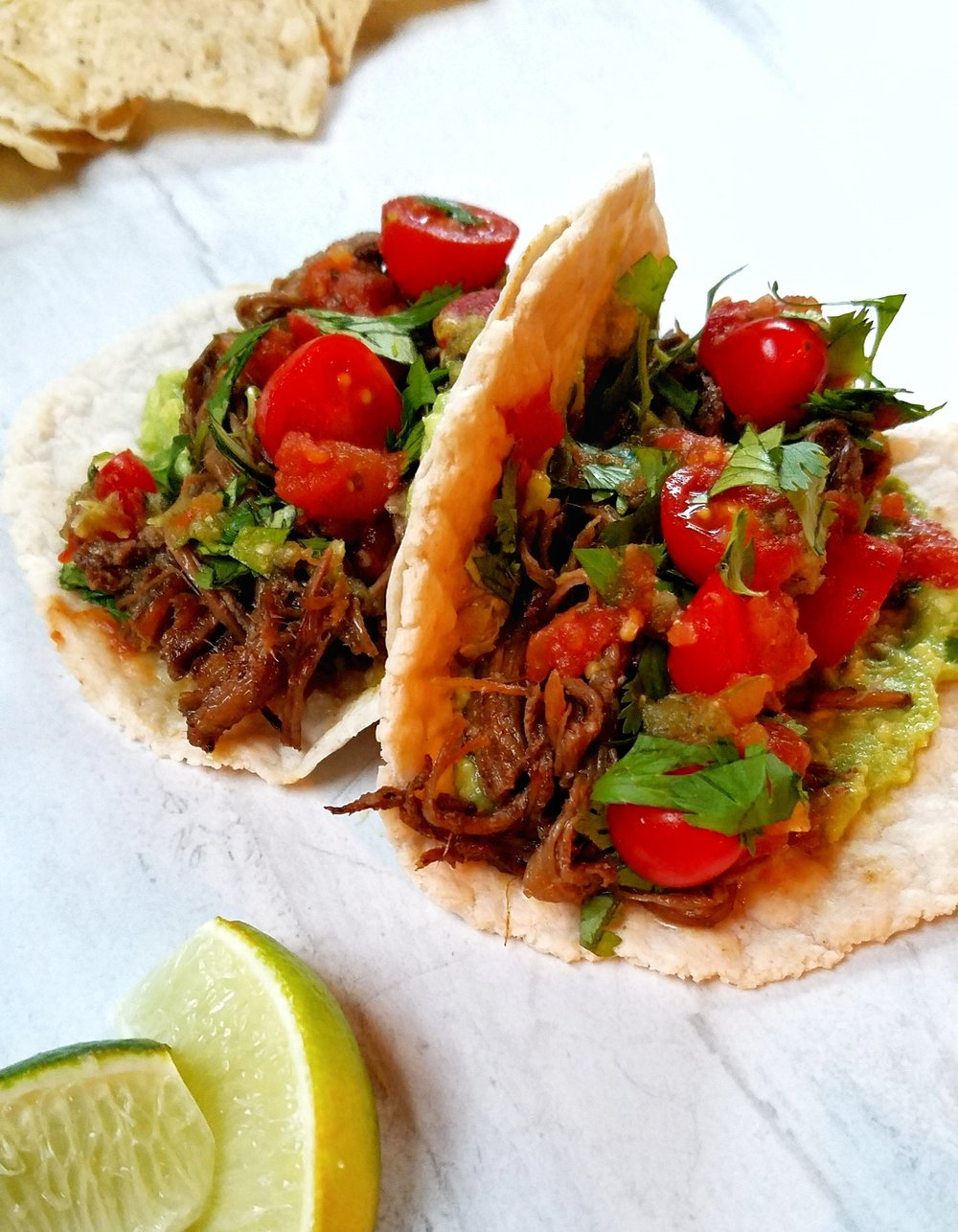 Grass-Fed Beef Slow Cooker Carnitas with Cassava Flour Tortillas