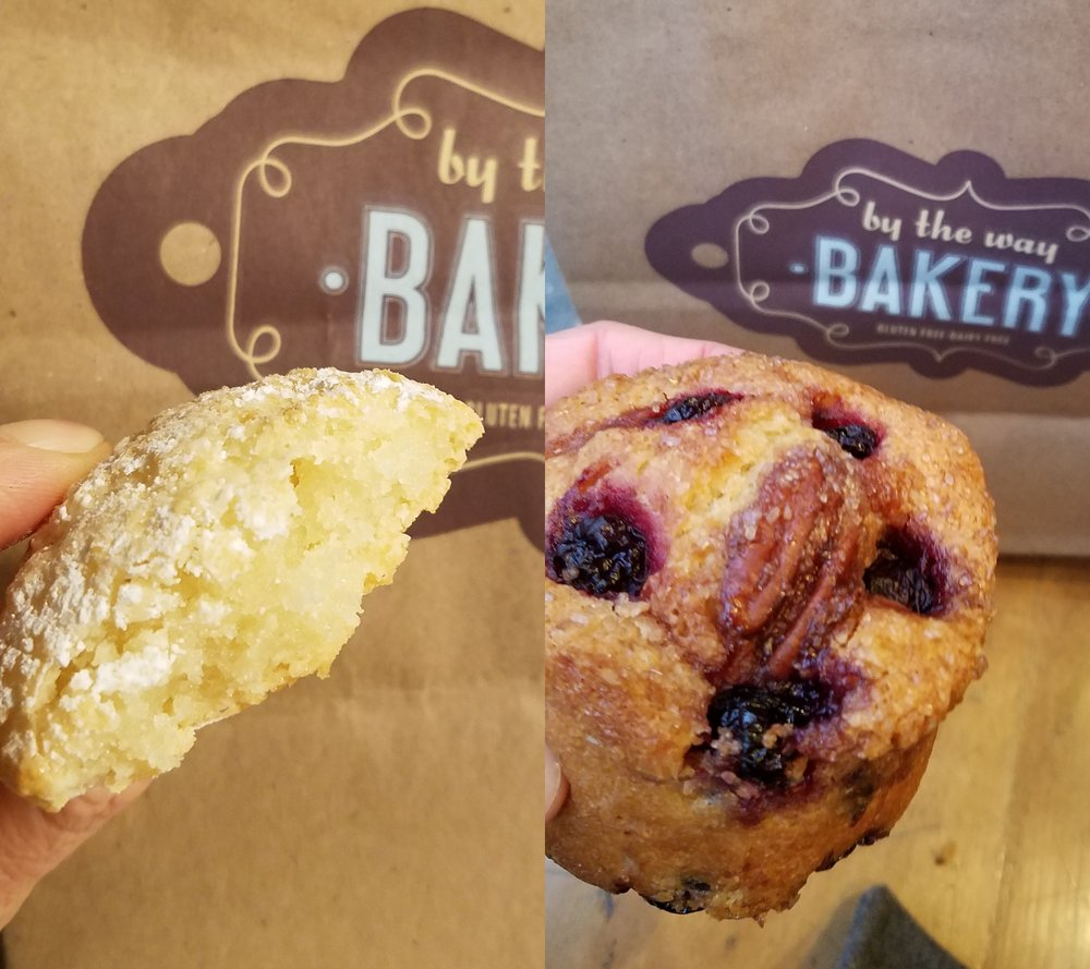 Bad photos, tasty treats! Almond Cookie and Sour Cherry Mini-Cake at By The Way Bakery