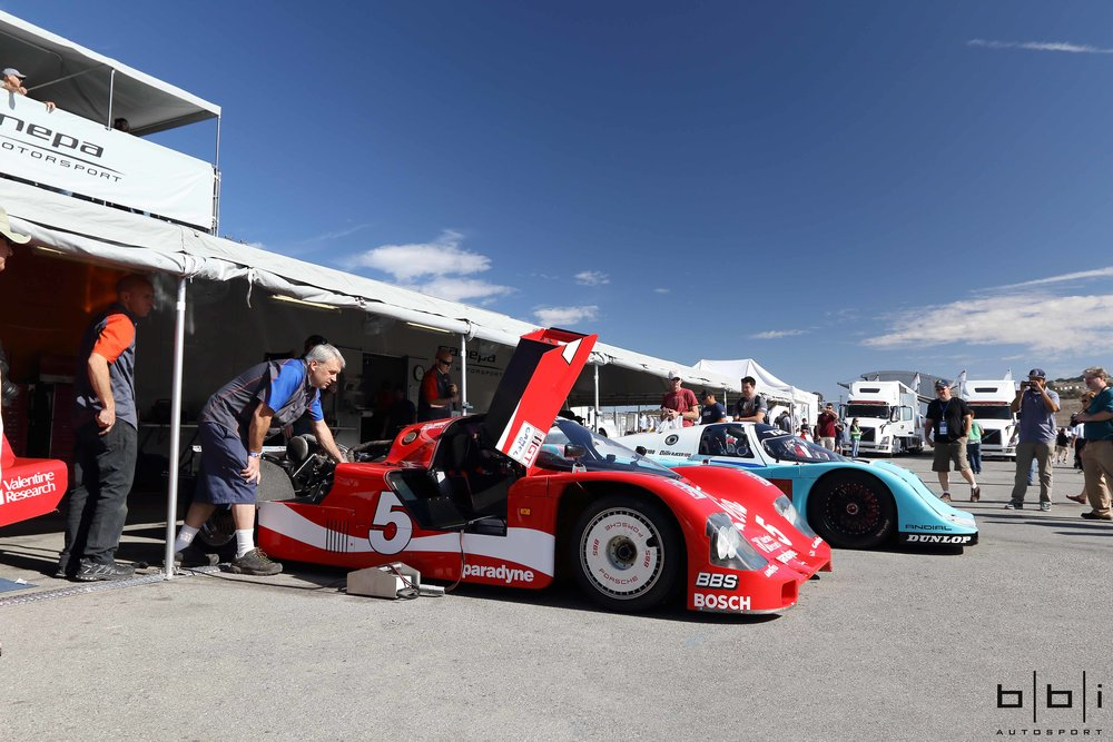Restored and Prepared by Canepa Motorsports: Coca-Cola Porsche 962-102 and TRUST Racing Nisseki Porsche 962-170, one of the last Porsche factory 962s built.