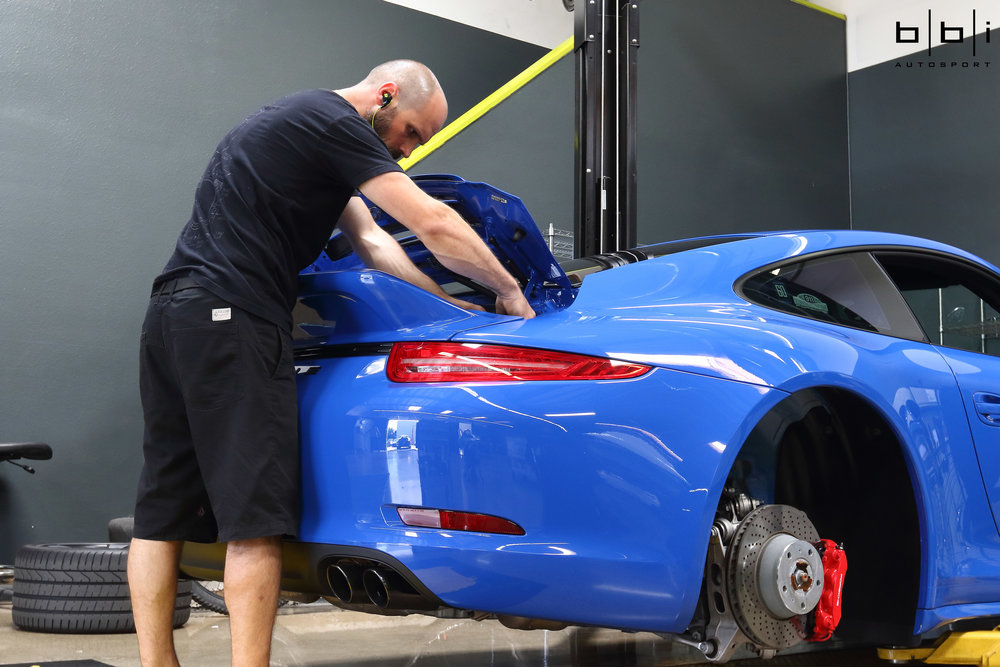 Replacing the air filters on the Porsche 991 requires that the bumper be removed