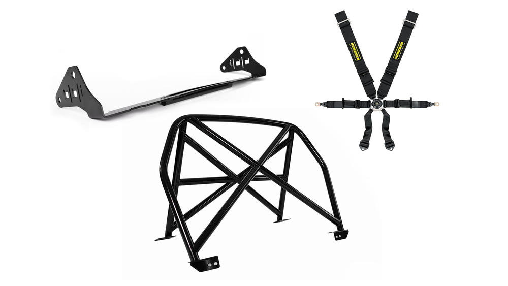 BBi SAFETY - From $2900.00 | BBi developed an assortment of safety gear to work with the GT3. This particular configuration features sub-belt seat brackets paired with Schroth 6-point harnesses, which can be optioned to use with and with-out HANS devices. The bolt-in BBi StreetCup harness bar adds harness mounting points as well as reinforcement and protection.