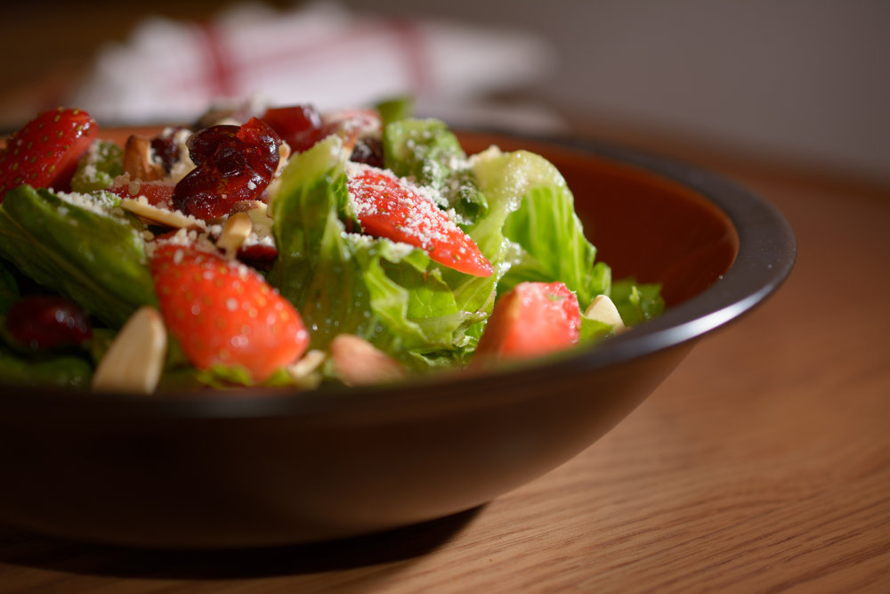 strawberry romaine salad - with NutraPonics Green Forest Romaine Lettuce