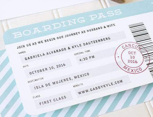 Boarding Pass Wedding Invitation Sample Paper Parcel Wedding
