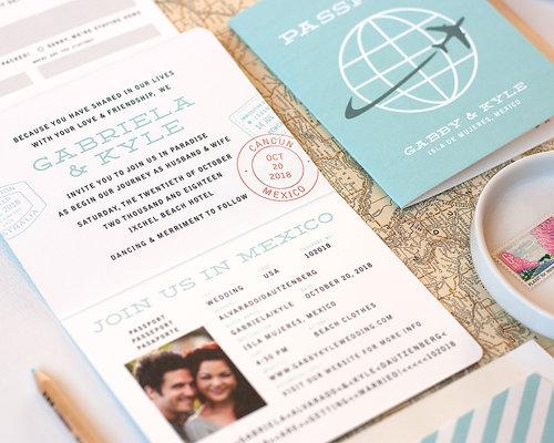 Passport Wedding Invitation Sample Paper Parcel Wedding Invitations