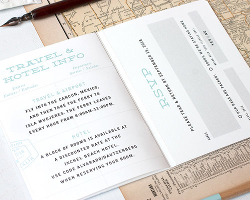 MultiPage Passport Wedding Invitation Sample Paper Parcel – Passport Wedding Invites