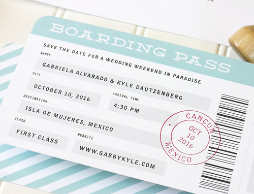Boarding Pass Save The Date Paper Parcel Wedding Invitations