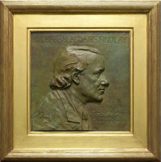 Gerald Laing  Relief Portrait of Michael Alasdair Findlay,  1990, bronze. Private Collection