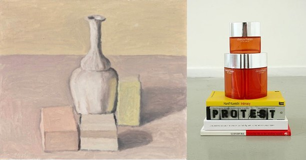 "Giorgio Morandi ""Natura morta"" 1957 currently Christie's London lot 6, 2/28; Heman Chong ""Everyday Life in the Modern World, What is the Artist's Role Today? Protest, Intimacy"" 2005, Private Collection #stilllife #hemanchong #christies #giorgiomorandi"