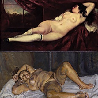 "Gustave Courbet ""Femme nue couchée"" 1882; Private Collection; Lucian Freud ""Naked Solicitor"" 2003 Private Collection, copyright The Lucian Freud Archive. #GustaveCourbet #LucianFreud"