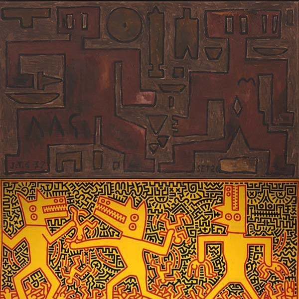 "Joachín Torres-García ""Formas (Forms)"",1937, tempera on canvas, 45 X 78 inches. Private Collection copyright Alejandra, Aurelio and Claudio Torres, Sucesion J. Torres-García, Montevideo 2017. Currently exhibited at Acquavella Galleries New York. Keith Haring ""Untitled""1983, acrylic on canvas, 114 X 232 inches Caserta, Palazzo Reale Collection Terrae Motus copyright 2018 The Keith Haring Foundation.#Torres-Garcia #KeithHaring #AcquavellaGalleries"