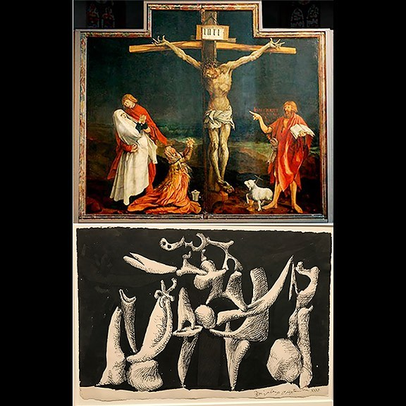 "Matthias Grünwald ""Issenheim Altarpiece"" 1516, Museum Unterlinden, Colman; Pablo Picasso ""The Crucifixion"" 1932, Musée National Picasso-Paris, currently on view in ""Picasso 1932"" at the Tate Modern, London #Colmar #grunwald  #issenheimaltarpiece #picasso #tatemodern #museepicassoparis"