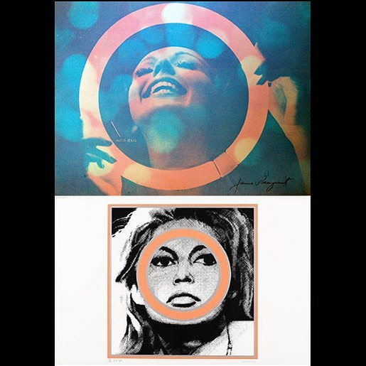 "James Rosenquist ""Somewhere to Light"" 1966 Silkscreen on paper, edition of 225.©️Estate of James  Rosenquist/Licensed by VAGA and ARS,New York. Gerald Laing ""Brigitte Bardot"" 1966 silkscreen on paper (from a 1963 painting), edition of 200.©️2018 Estate of Gerald Laing."