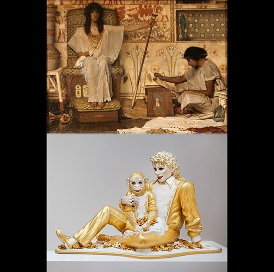 """Each culture has its own new possibilities of self-expression which arise, ripen, decay and never return."" Oswald Spengler ""The Decline of the West"". Sir Lawrence Alma-Tadema ""Joseph and the Overseer"" 1874, Dahesh Museum of Art, New York; Jeff Koons ""Michael Jackson and 'Bubbles'"" 1988 ©️Jeff Koons 2019. #almatadema #oswaldspengler #jeffkoons #daheshmuseumofart"