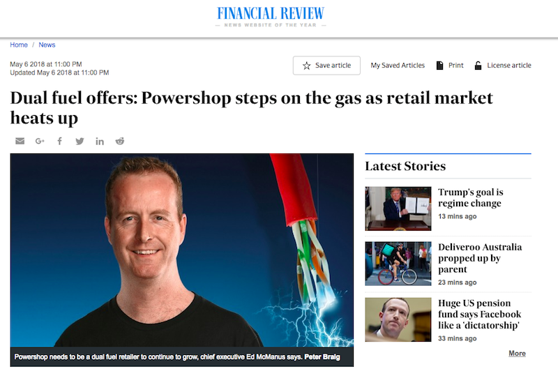 Powershop featured in the Australian Financial Review