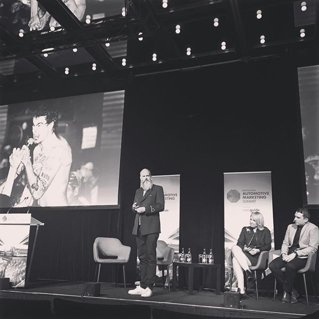 @theroyals @mercedesbenzvans_au presenting at Mumbrella Automotive Summit today. Talking #toughconversations in this pic #xclass