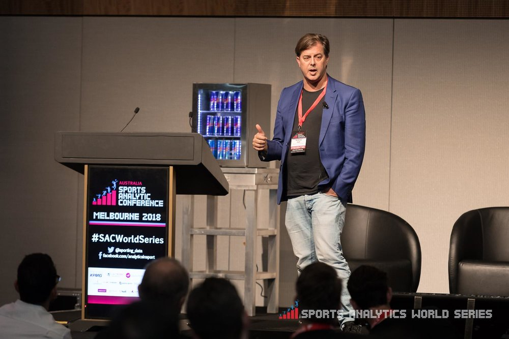 Andrew Hall, CEO & Co-Founder at myKicks presenting at the 2018 Sports Analytics Conference, Melbourne. Image: Source Supplied.