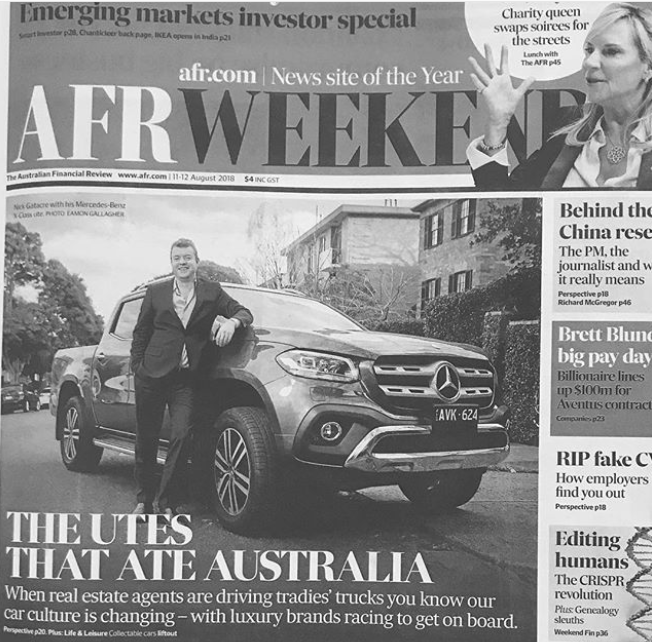 The new X-Class from Mercedes-Benz Vans on the front page of the AFR Weekend