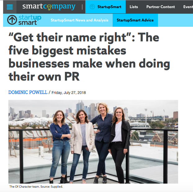 Character featured on Smart Company in July
