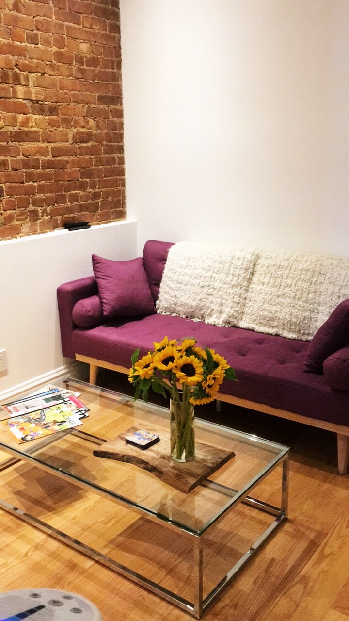 I LOVED this purple couch and our exposed brick.