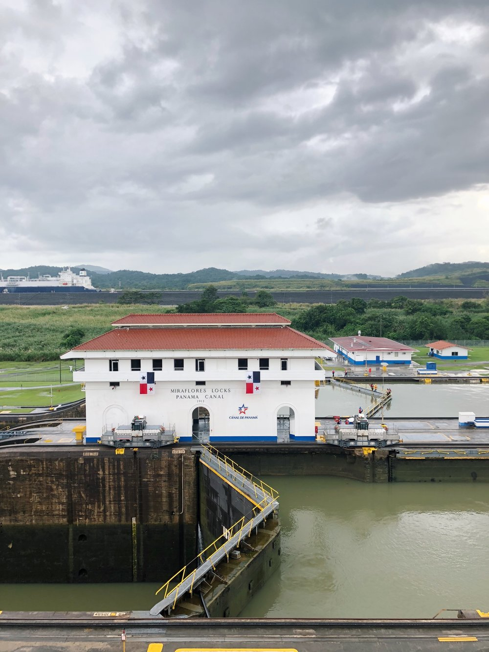 View of the Miraflores locks, awaiting the ship to pass through (based on the water levels)