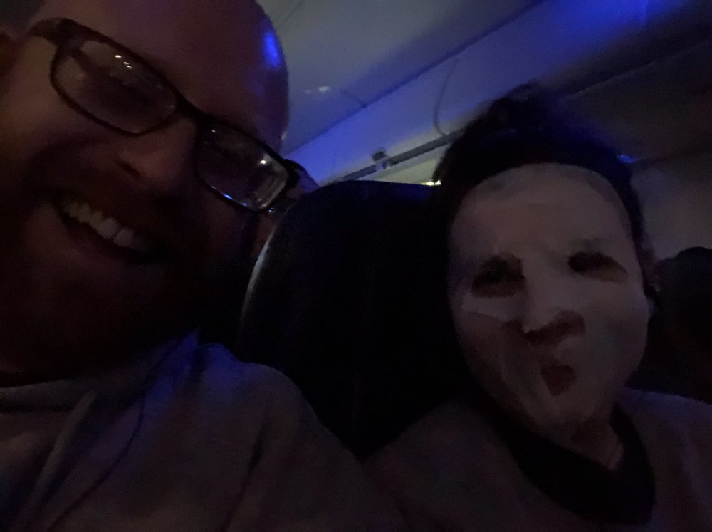 forgot i had a face mask in my purse and put it on mid-flight. it was refreshing and also brought some serious giggles to the fam