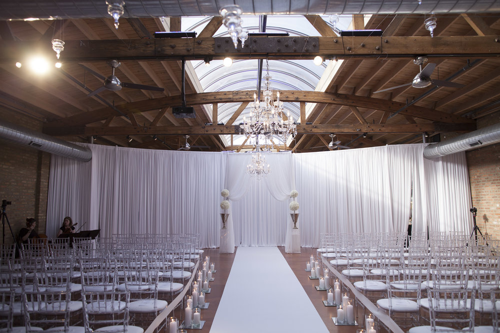 Ceremony Draping, Aisle Decor, Chandeliers, Twinkle Tea lights