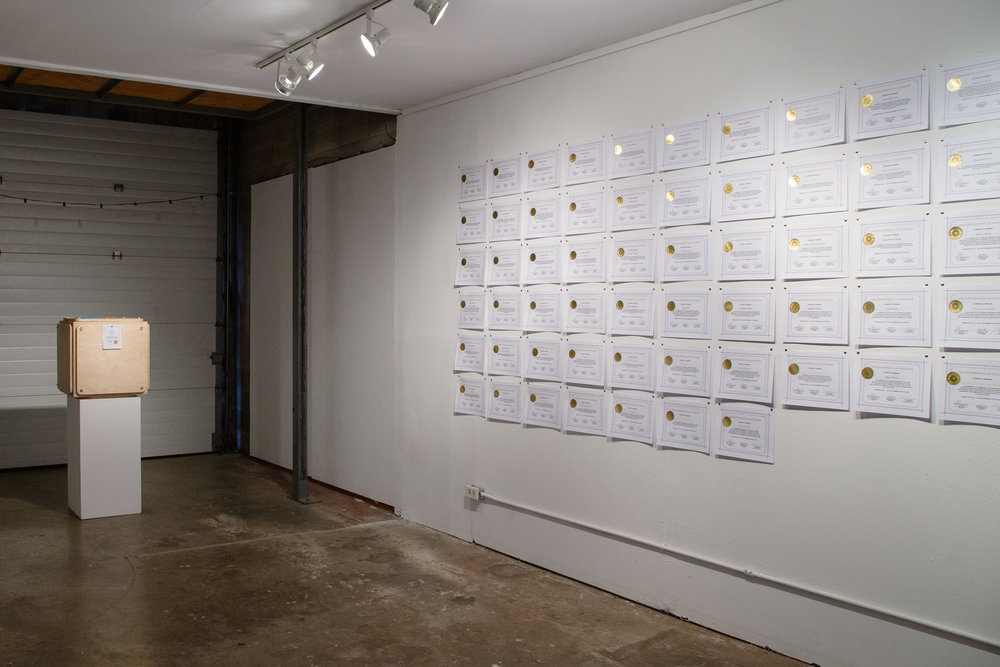 Proud to Honour installation view, Terry-Dayne Beasley @ Ministry of Casual Living, Victoria BC, December 7-21, 2018