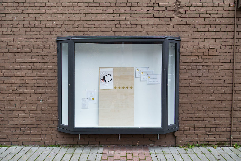 Proud to Honour installation view, Terry-Dayne Beasley @ Ministry of Casual Living Window Gallery, Victoria BC, December 7-21, 2018