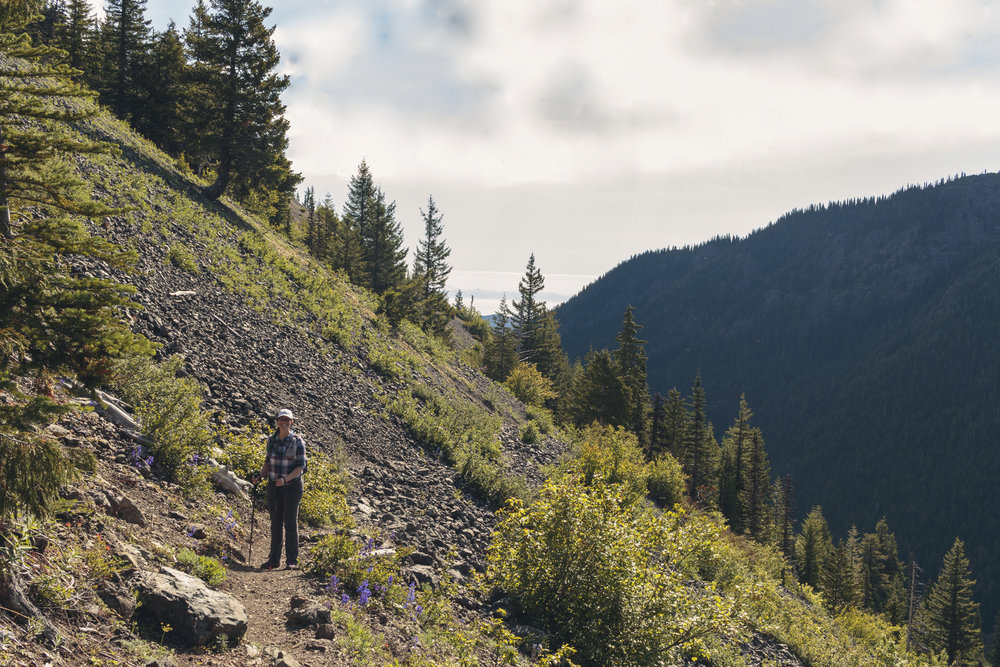 We started hiking up to the pass as soon as we could that morning, but these exposed spots quickly heated up.