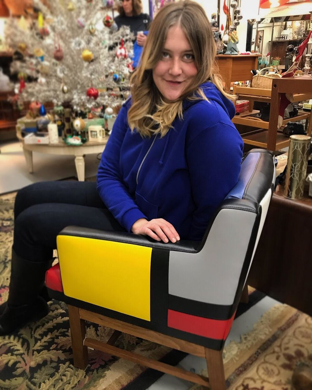 Super RAD Mondrian inspired chair I found at a thrift store! No, I couldn't afford it.
