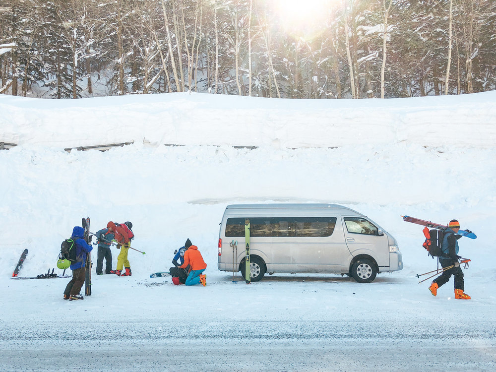 japan by van walking to trailhead in morning.jpg