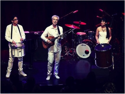 [Getting back onstage with David Byrne at a benefit for WITNESS, Peter Gabriel's foundation. Also pictured, Hapa actor George Salazar]