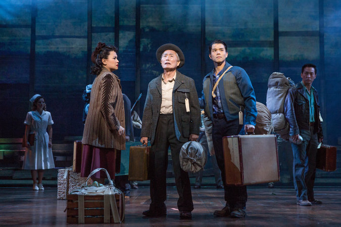 Lea Salonga, George Takei, Telly Leung, and Michael K. Lee in the  Allegiance.  In this scene, the uprooted family has just arrived at Heart Mountain Internment Camp