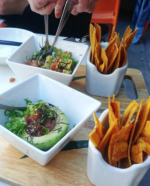hapaizakaya : Chopped Ahi tuna, avocado, tomato, onion paired with crisp plantain chips. Tuna Avocado Salsa Dip is the perfect appetizer on beautiful days like this ☀️ PC:  @seen.invancity