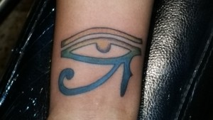New tattoo! Eye of Horus in blue and gold.