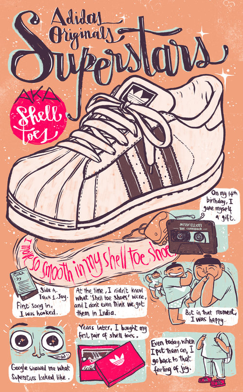 A poster series on iconic sneakers and personal narrative comics about my  connection with them.