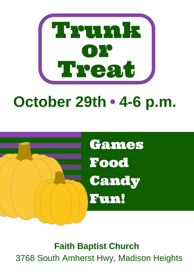 Trunk or Treat @ First Baptist Church Madison Heights - Date: Sun Oct 29Time: 4pm - 6pmAddress: 3768 South Amherst Highway Madison Heights, VA 24572