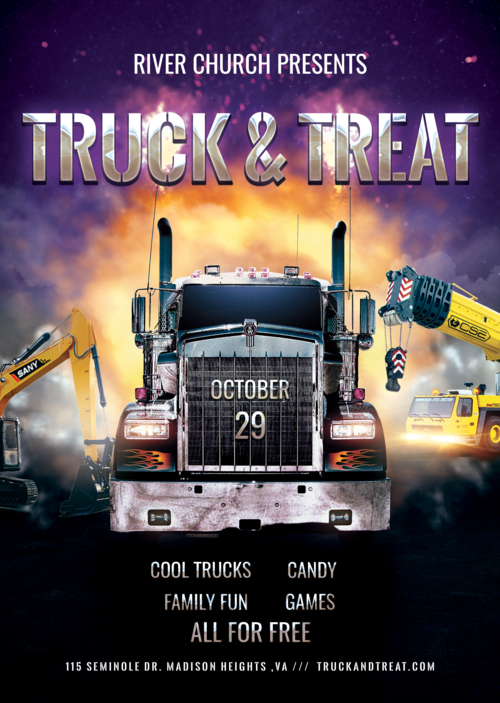 Truck or Treat @ River Church - Date: Sun Oct 29Time: 4pm - 7pmAddress: 115 Seminole Dr. Madison Heights, VA 24572