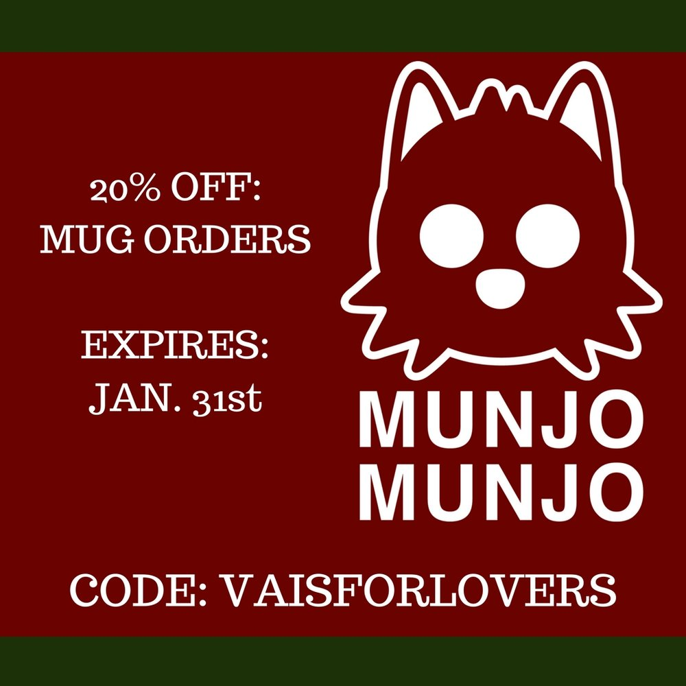Munjo Munjo is offering 20% OFF of all mug orders from now until 1/31 when you use the code VAISFORLOVERS.