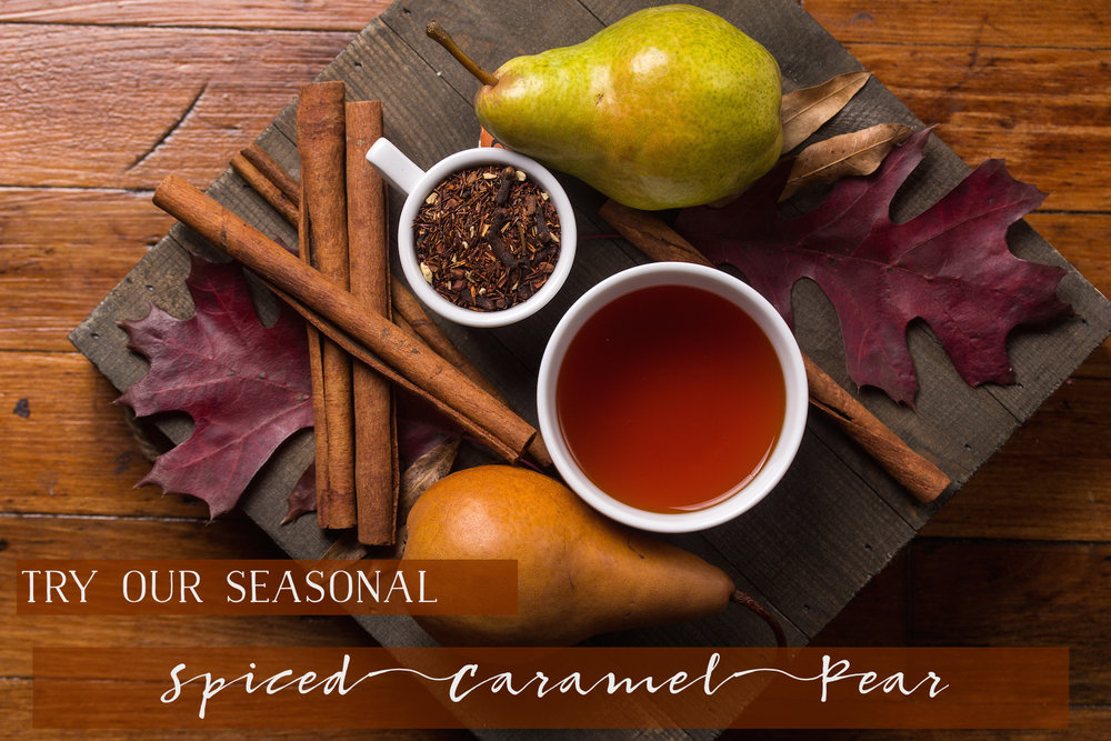 Spiced Caramel Pear by Good Karma Tea Co. - Subtle pear and notes of caramel compliment traditional fall spices in this seasonal rooibos blend. A delicious anytime tea.Price: $17.95