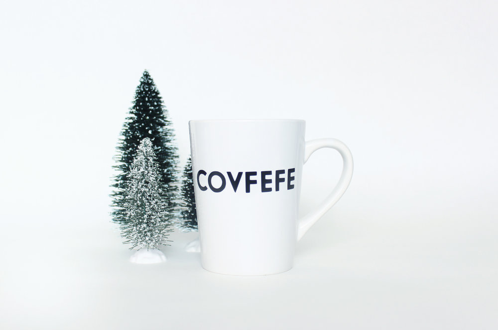 Covfefe Mug by GuyPiper - The perfect mug for your morning covfefe (whatever that is)! 14 oz ceramic mug with permanent vinyl lettering. Perfect as a gift, or just a little something for yourself. Microwave safe, hand wash only.Price: $10