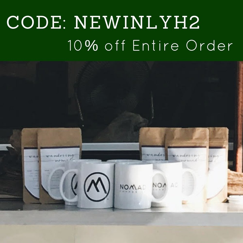 This holiday season Nomad Coffee is offering all their customers 10% off their entire orders this includes t-shirts, coffee, and mugs when they use the code NEWINLYH2.